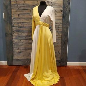 Vintage 70s Evening Colorblock Dress